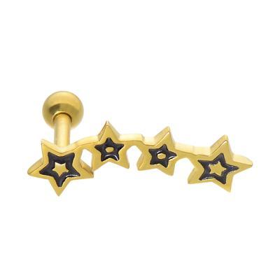 Piercing de oreja Acero quirúrgico Esmalte Revestimiento PVD (color oro) Estrella