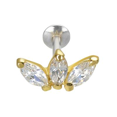 Ohrpiercing Silber 925 PVD Beschichtung (goldfarbig) Zirkonia Blume Blatt Pflanzenmuster Florales_Muster