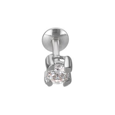 Ohrpiercing rhodiniertes Silber 925 Zirkonia