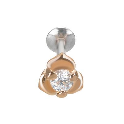 Ohrpiercing Silber 925 PVD Beschichtung (goldfarbig) Zirkonia Blume Rose