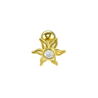 Ohrpiercing Chirurgenstahl 316L PVD Beschichtung (goldfarbig) Kristall Blume