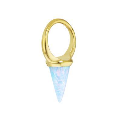 Piercing orecchio Metallo chirurgico 316L Rivestimento PVD (colore oro) Synthetic opal Goccia Forma_di _goccia