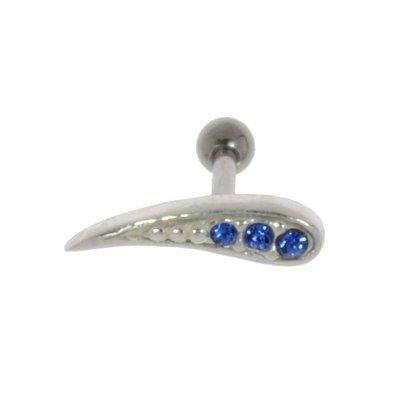 Piercing orecchio Metallo chirurgico 316L Ottone con rivestimento in argento Cristallo Goccia Forma_di _goccia