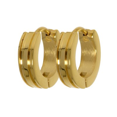 Breite Ohrringe Edelstahl Gold-Beschichtung (vergoldet) Streifen Rillen Linien