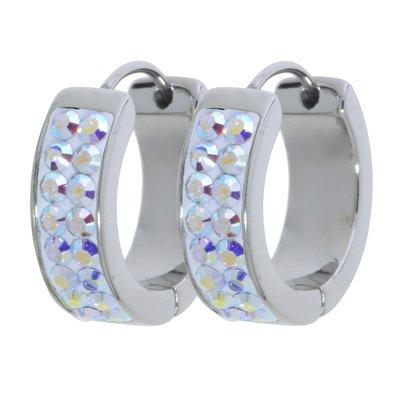 Breite Ohrringe Edelstahl Swarovski Kristall