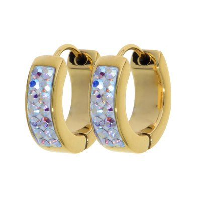 Breite Ohrringe Edelstahl PVD Beschichtung (goldfarbig) Hochwertiger Kristall Epoxiharz
