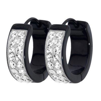 Ohrringe Edelstahl PVD Beschichtung (schwarz) Swarovski Kristall Epoxiharz