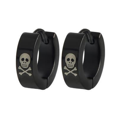Ohrringe Edelstahl PVD Beschichtung (schwarz) Totenkopf Schädel Knochen