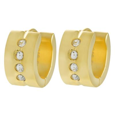Breite Ohrringe Edelstahl Kristall PVD Beschichtung (goldfarbig)