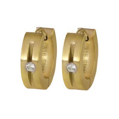 Breite Ohrringe Edelstahl Kristall PVD Beschichtung (goldfarbig) Streifen Rillen Linien