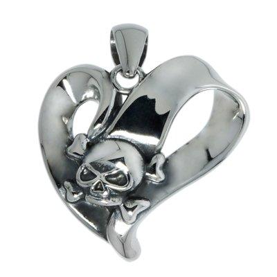 Edelstahl-Anhänger Edelstahl Herz Liebe Totenkopf Schädel Knochen