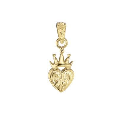 Edelstahl-Anhänger Edelstahl Gold-Beschichtung (vergoldet) Herz Liebe Krone Blatt Pflanzenmuster Florales_Muster