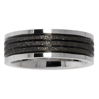 Anello acciaio Acciaio inox Rivestimento PVD (nero) Striatura Banda Incavo