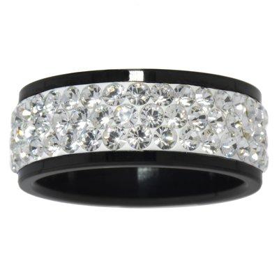 Bague de doigt Acier inoxydable Revêtement PVD noir Cristal Swarovski