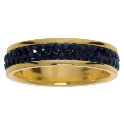 Edelstahlring Edelstahl PVD Beschichtung (goldfarbig) Swarovski Kristall
