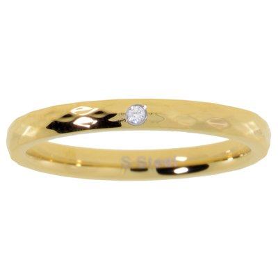 Edelstahlring Edelstahl Gold-Beschichtung (vergoldet) Kristall
