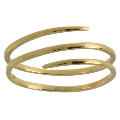 Anillo Acero fino Revestido de oro Espiral