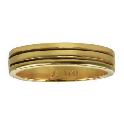 Anello acciaio Acciaio inox Rivestimento PVD (colore oro) Striatura Banda Incavo
