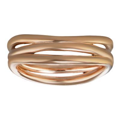 Fingerring Edelstahl PVD Beschichtung (goldfarbig) Streifen Rillen Linien
