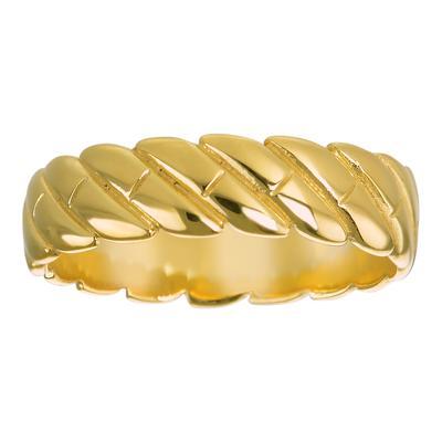 Anello Acciaio inox Rivestimento PVD (colore oro) Spirale Eterno Eterna Passante Striatura Banda Incavo