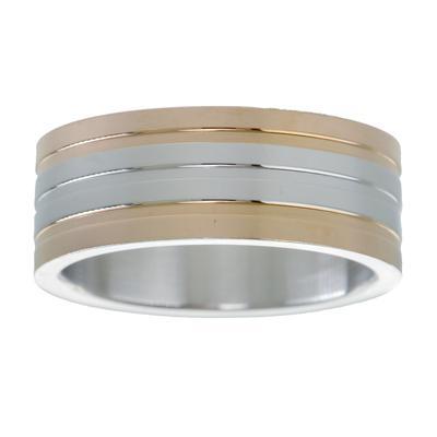 Edelstahlring Edelstahl PVD Beschichtung (goldfarbig) Streifen Rillen Linien