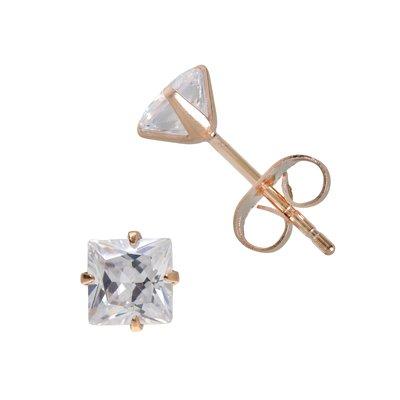 Ohrstecker Edelstahl Kristall PVD Beschichtung (goldfarbig)