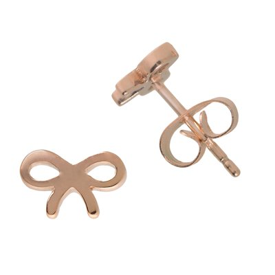 Ohrstecker Edelstahl PVD Beschichtung (goldfarbig) Schleife Geschenkband Haarschlaufe