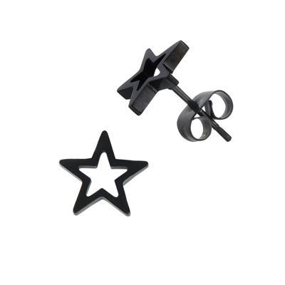 Ohrstecker Edelstahl PVD Beschichtung (schwarz) Stern
