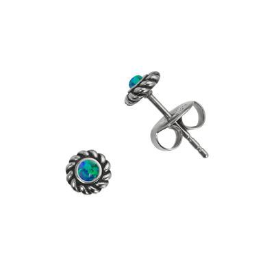 Ohrstecker Edelstahl Synthetischer Opal Spirale