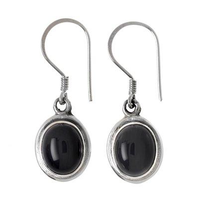 Ohrhänger Silber 925 Schwarzer Onyx