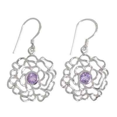 Ohrhänger Silber 925 Amethyst Blume Rose