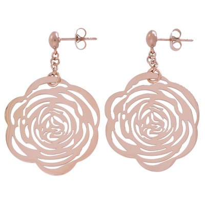 Ohrringe Chirurgenstahl 316L PVD Beschichtung (goldfarbig) Blume Rose