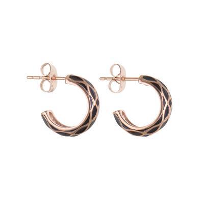 Ohrringe Chirurgenstahl 316L PVD Beschichtung (goldfarbig) Kariert Streifen Rillen Linien