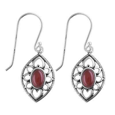 Ohrhänger Silber 925 Roter Onyx Blume
