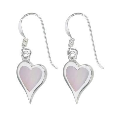 Ohrhänger Silber 925 Perlmutter Herz Liebe
