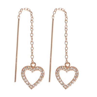 Ohrhänger Silber 925 Gold-Beschichtung (vergoldet) Kristall Herz Liebe