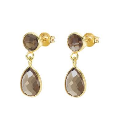Shrestha Designs Ohrhänger Silber 925 Gold-Beschichtung (vergoldet) Rauchquarz