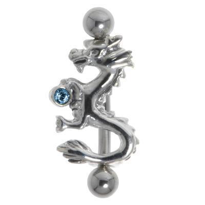 Augenbrauenpiercing Chirurgenstahl 316L Silber 925 Kristall Drache