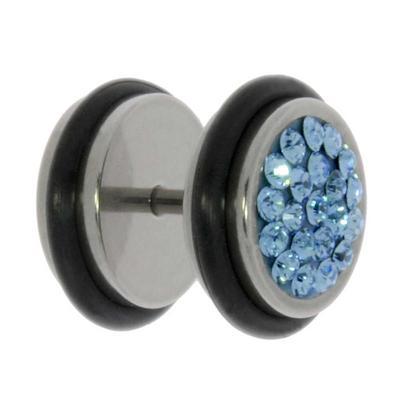 Fake-Plug Chirurgenstahl 316L Swarovski Kristall PVC