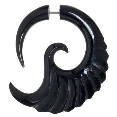 Fake-Plug Chirurgenstahl 316L Buffalo Horn Tribal_Zeichnung Tribal_Muster Spirale Flügel