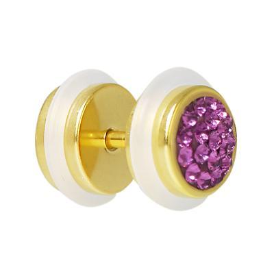 Fake-Plug Chirurgenstahl 316L PVD Beschichtung (goldfarbig) Kristall PVC