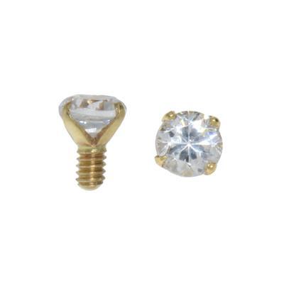 Dermal-Anchor Aufsatz Gold 14K Kristall