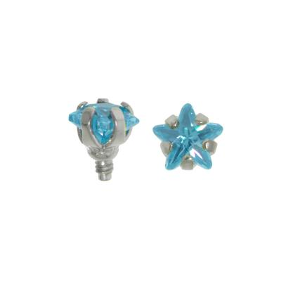 Dermal-Anchor Aufsatz Chirurgenstahl 316L Kristall Stern