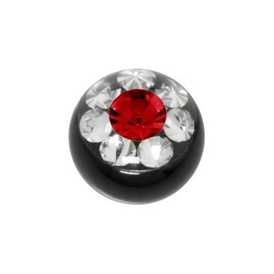 Piercingverschluss Chirurgenstahl 316L Swarovski Kristall PVD Beschichtung (schwarz) Blume