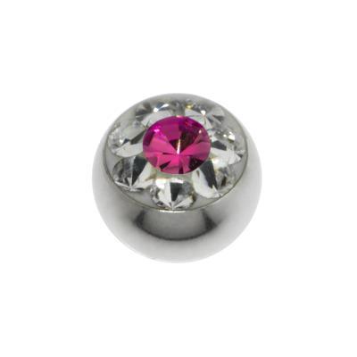 Piercingverschluss Chirurgenstahl 316L Swarovski Kristall Blume