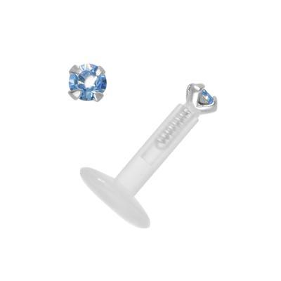 Piercing Bioplast Silber 925 Swarovski Kristall