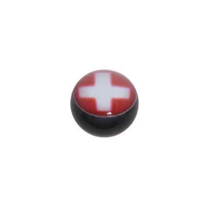 1.2mm Piercing-Kugel Acrylglas Epoxiharz Kreuz Schweiz Schweizerkreuz