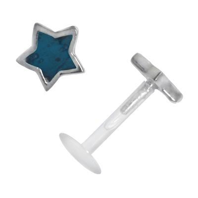 Piercing für Lippe/Tragus Bioplast Silber 925 Email Stern