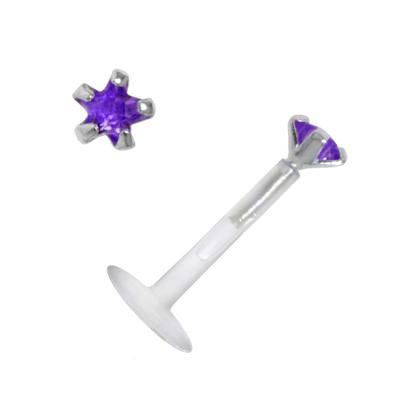 Piercing für Lippe/Tragus Bioplast Silber 925 Zirkonia Stern