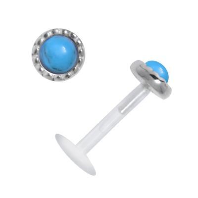 Piercing für Lippe/Tragus Bioplast Silber 925 Schmuckstein